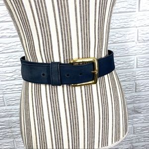 Vintage Express Faded Blue Suede Leather Belt